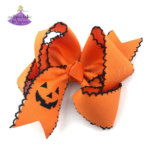 Embroidered Jack O Lantern Orange Big Southern Boutique Bow for Toddlers or Girls