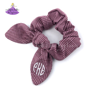 Brown, Pink and White Plaid Bow Scrunchie