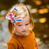 Fall Fashion Accessory for Toddler Hair Bow with Stripes