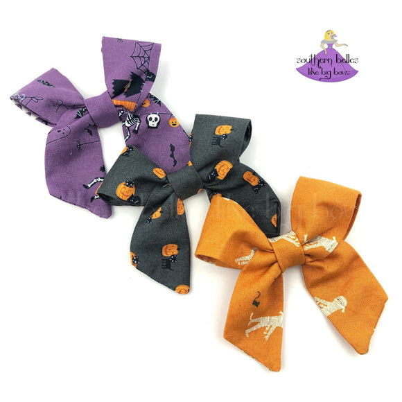 Fabric Hair Bows for Halloween for Babies, Toddlers and Girls