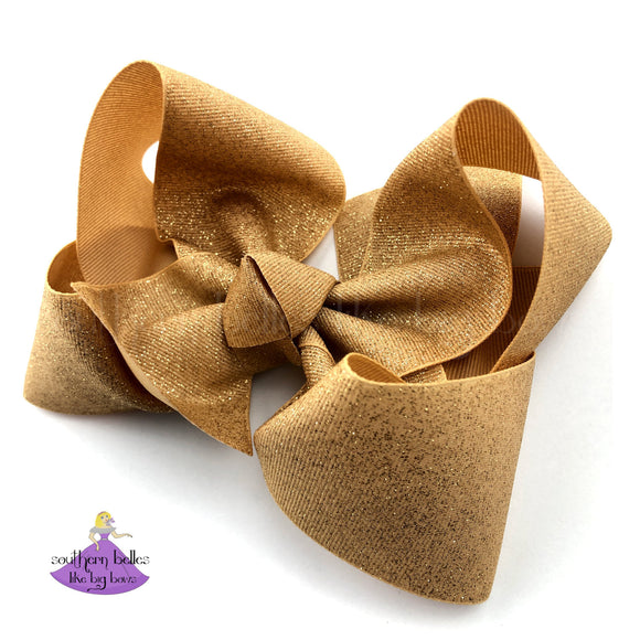 Gold Glitter Christmas Hair Bow Accessory for Girls