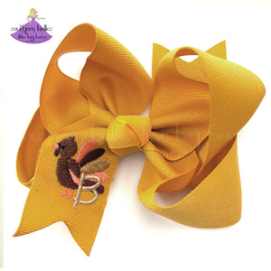 Mustard Big Hair Bow for Thanksgiving