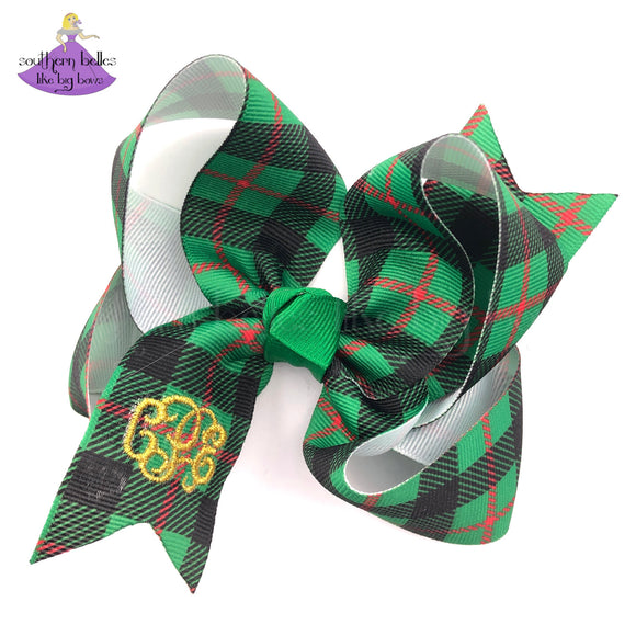 Monogrammed Christmas Hair Bow