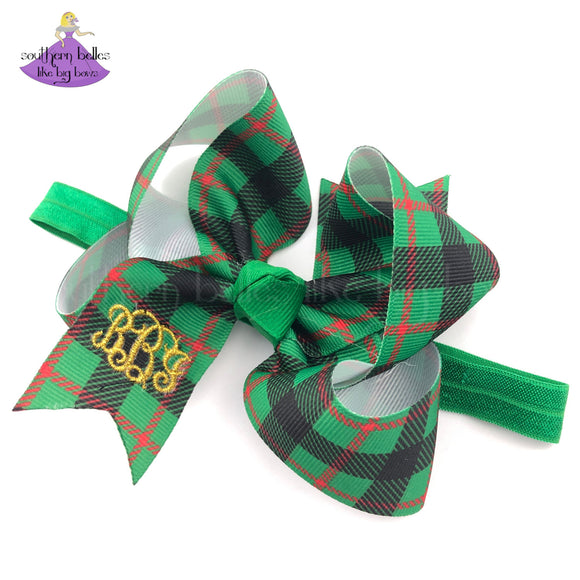 Personalized Christmas Plaid Headband Bow For Baby