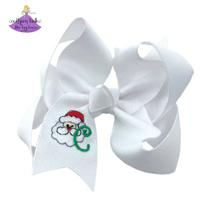 Personalized Christmas Bow with Santa