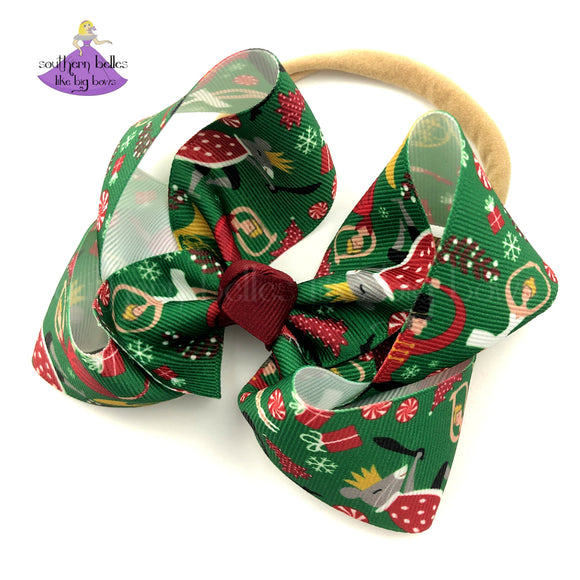 Christmas Baby Bow Headband in Nutcracker print ribbon