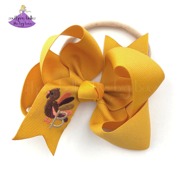 Personalized Mustard Baby Bow for Thanksgiving