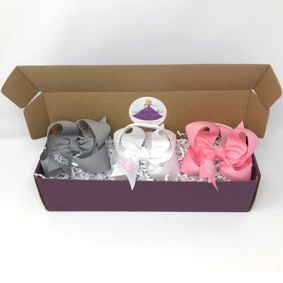 Set of 3 Baby Bows with Monogram