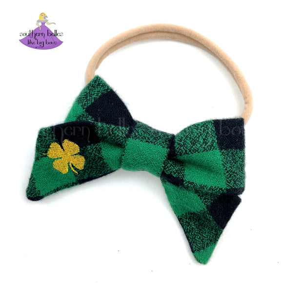 St. Patrick's Day Baby Headband with Gold Shamrock on Green and Black Buffalo Plaid Fabric Hair Bow