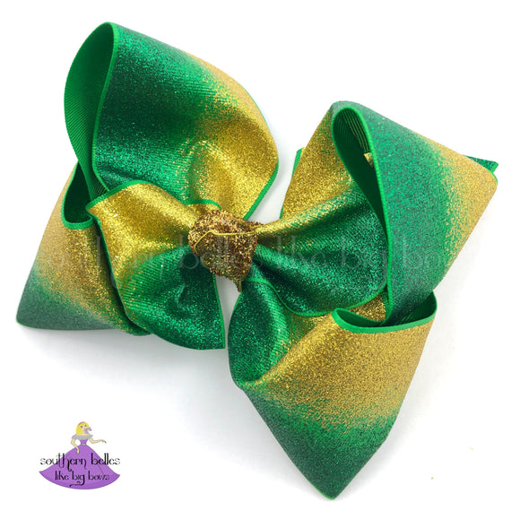 Big Green and Gold Hair Bow
