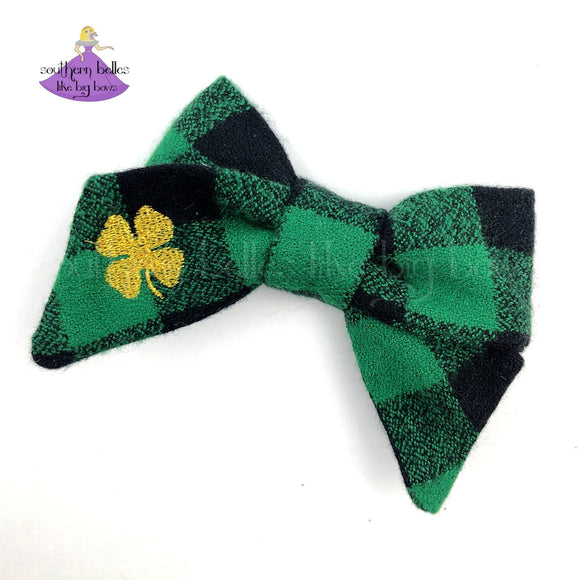 St Patricks Day Hair Bow for Girl with Gold Shamrock