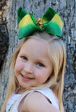 Big gold and green jo jo hair bow for tween