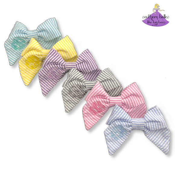 Seersucker Fabric Hair Bows in Various Colors with Personalized Monogram