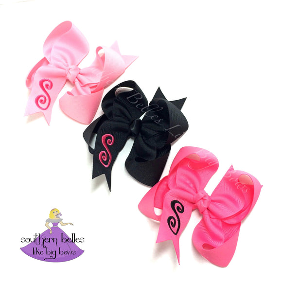 Personalized Bow with Initial Letter - Small & Medium