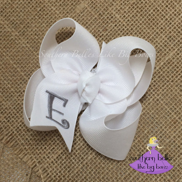 White Baby Bow with Monogram