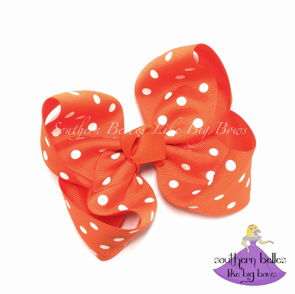 Orange Polka Dot Boutique Bow