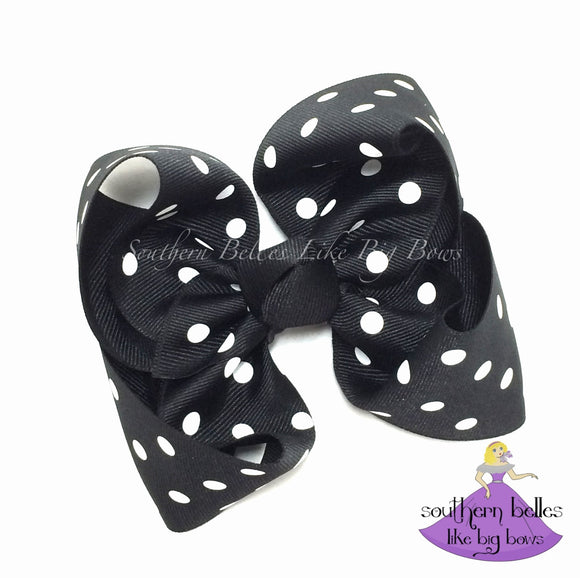 Black Polka Dot Boutique Bow