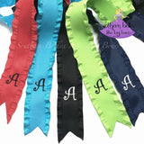 Personalized Initial Letter Double Ruffle Ribbon for Ponytails