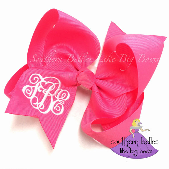 Jumbo Hot Pink Monogrammed Bow