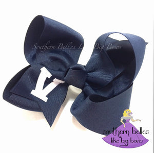 Navy School Spirit Bow Personalized with School Letters