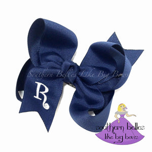 Navy Blue Bow with Initial Letter