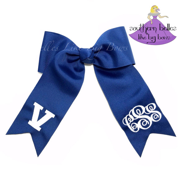 Monogrammed Softball Bow with Long Tails