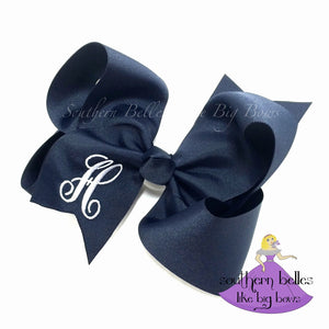 Navy Bow with Elegant Initial Letter in KK Font