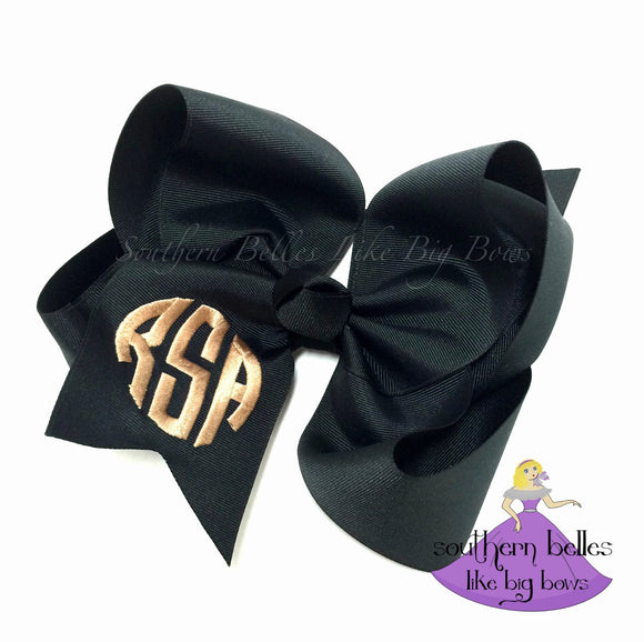 Jumbo Monogrammed Bow with Circle Letters