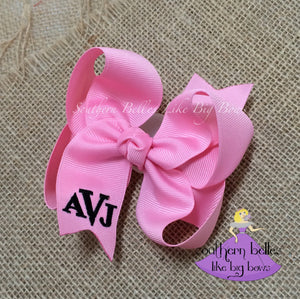 Pink Monogrammed Bow in Classic Block Letters -Small to Medium