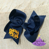 Navy Monogrammed Bow in Large