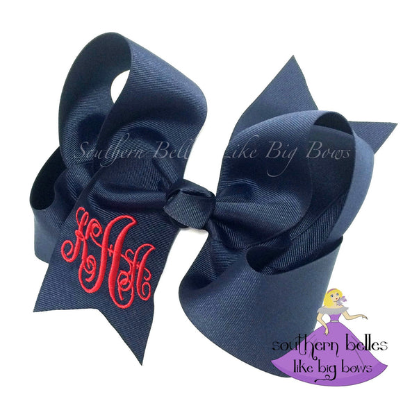 Navy Monogrammed Bow with Script Monogram in Large