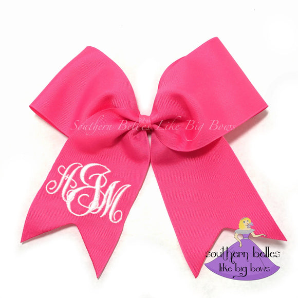 Big pink cheer bow personalized with embroidered monogram with various font options
