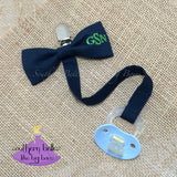Personalized Bow Tie Pacifier Clip for Baby Boy (Various Colors)