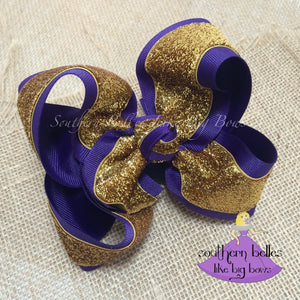 Purple and Gold Mardi Gras Bow - Large