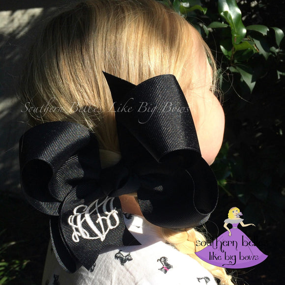 Black Monogrammed Bow in Large