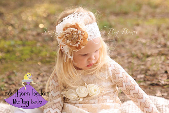 Elegant Satin and Lace Flower Headband with Flowers