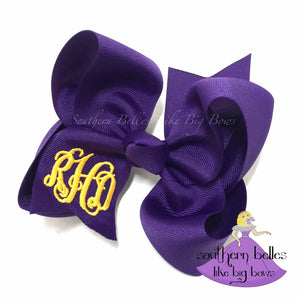 Purple Monogrammed Bow in Large