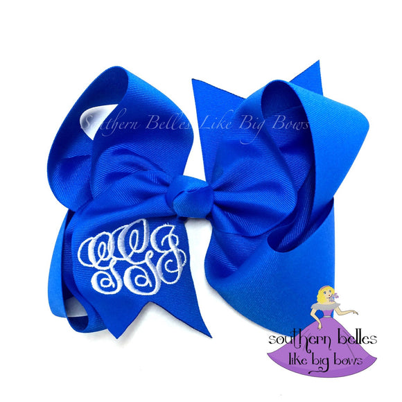 Jumbo Electric Blue Monogrammed Bow