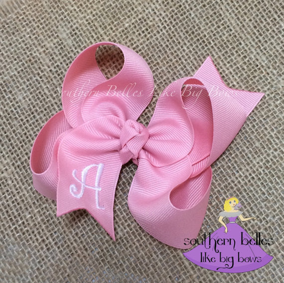 Pink Baby Bow with Monogram