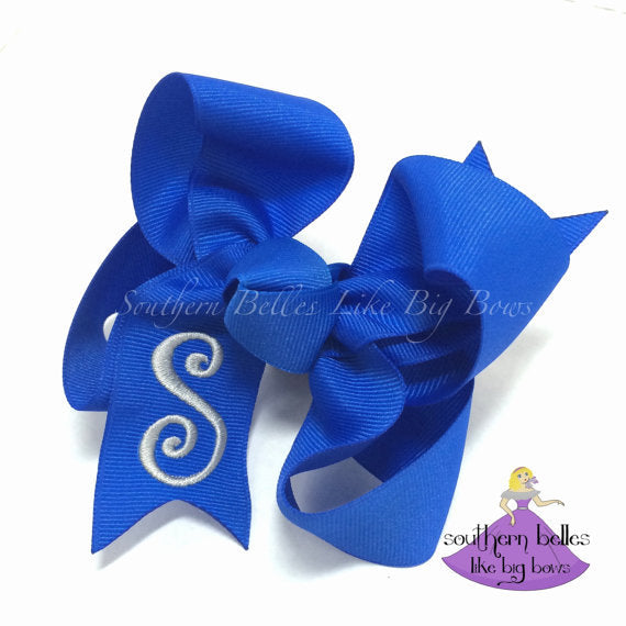 Blue Baby Bow with Monogram