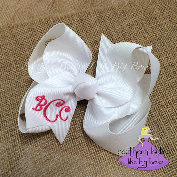 Monogrammed Bow with Curlz Letters in White
