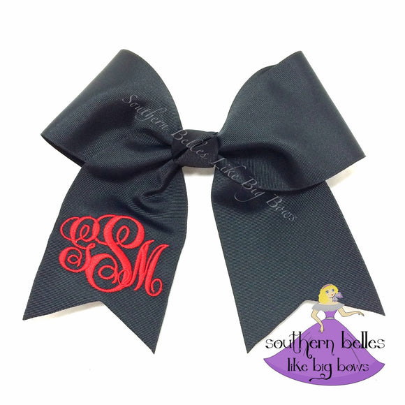 Monogrammed Black Cheer Bow