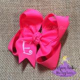Hot Pink Bow with Initial Letter