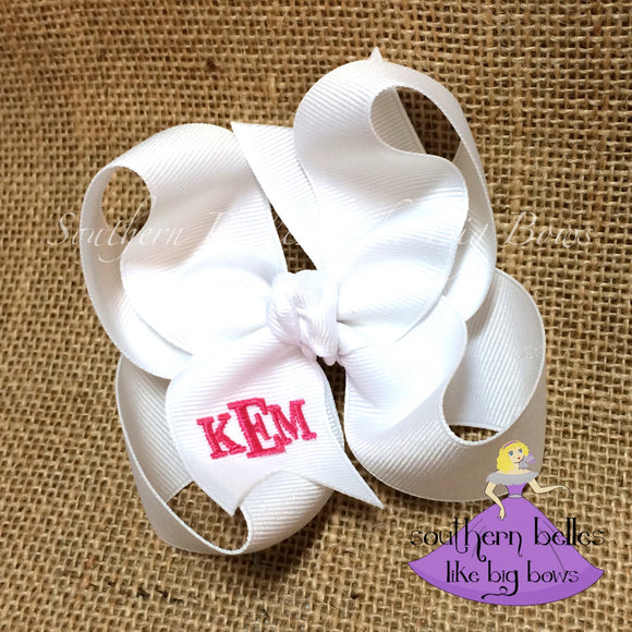 White Monogrammed Bow in Classic Block Letters -Small to Medium