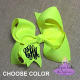 Big Neon Hair Bow with Monogram