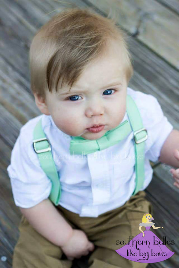 Mint Suspenders and Matching Bow Tie