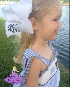 White Monogrammed Bow in Large