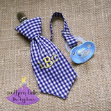 Gingham Checks Purple and Yellow Necktie Pacifier Clip for Baby Boy