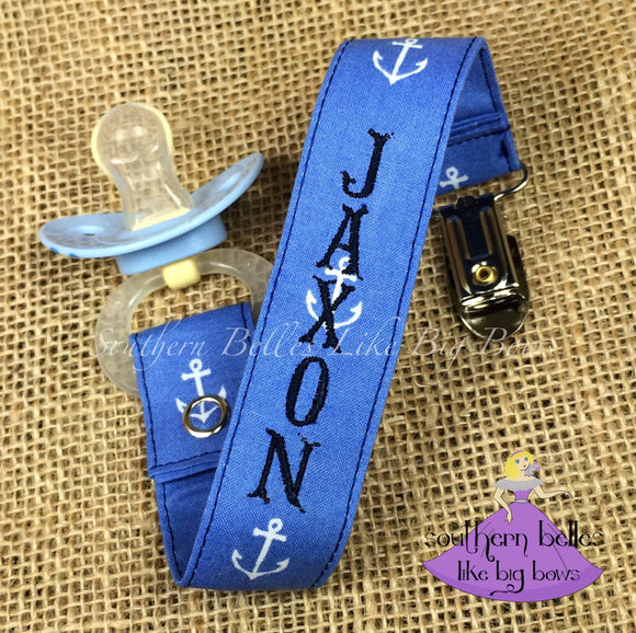 Baby Boy Anchor Pacifier Clip with Name