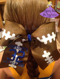 Football Fan Cheer Bow with Embroidery and Glitter